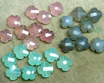3-3-3 Matched Pairs of Amazing Chalcedony Fancy Plus Shape Briolettes,14x14mm size,Superb Item