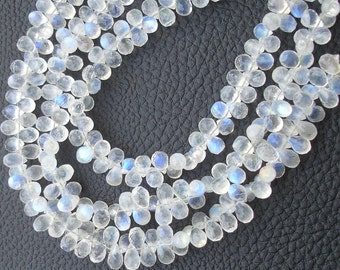 150 Cts Strand, Gorgeous Quality Blue Flashy Rainbow Moonstone Faceted Drops Shaped Briolettes, 8-9mm Long size,GORGEOUS
