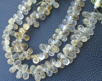 270 Cts Very RARE, Full Strand, Superb-GOLDEN RUTILATED Quartz Micro Faceted Drops Shape Briolettes, 10-15mm Long,Great Quality.