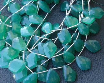8 Inch Long Strand, 16-18mm Long, GREEN Chalcedony Elongated Faceted Fancy Shape Briolettes,Superb-Finest Quality