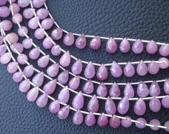 8 Inch Strand,African NATURAL PINK SAPPHIRE, Superb-Superb-Pink Sapphire Micro Faceted Drops Briolettes, 8-10mm size,Superb Grade