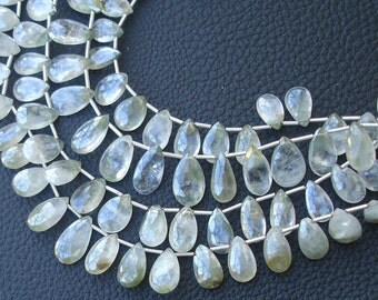 8 Inch Strand, Very-Finest Quality AAA,Mystic Bio-Green Cat's Eye Faceted Pear, 12-14mm Long size.