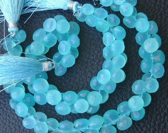 New Stock, 6 Inches Strand, SWISS Blue Chalcedony Micro Faceted Onions Briolettes, 7-9mm Long size,GORGEOUS.