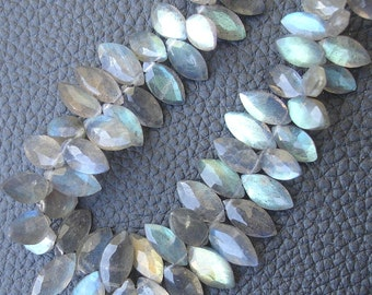 6 Inch Long Strand,Very-Very,Finest, Blue Flashy Labradorite Faceted MARQUISE Shaped Briolettes, 10-12mm Long size,Promotional Price