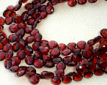 8 Inches, SUPERB Very- Very-Finest AAAAA Quality, PYROPE Red Garnet Faceted Heart Briolettes, 7-8mm aprx.