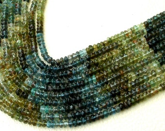 BRAND New, 4mm,SUPERB-Shaded Multi Moss Aquamarine Micro Faceted Rondells, Promotional Price,Full 14 Inch Strand.