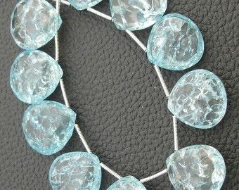 BRAND New Item,3 Matched pair, AQUAMARINE Blue CRYSTAL Quartz,Natural White Dyed Quartz Faceted Heart Shape Briolettes,18mm Long,Superb item