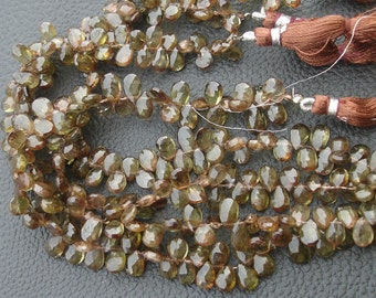 8 Inch Long Strand, Gorgeous Quality Andulasite Faceted Pear Shaped Briolettes, 8-9mm Long size,GORGEOUS