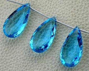 3 Pieces Set, SWISS BLUE Quartz Faceted Elongated Drops Shape Briolettes,12x25mm Long Size,Superb Item