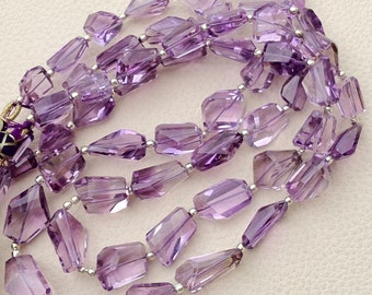 AAA Quality, 5 Inch Long Strand, Super Shiny PINK AMETHYST Step Cut Faceted Nuggets, 12-15mm Long size,Manufacturers Price