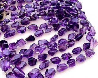 GRAPE AMETHYST,AAA Quality, 5 Inch Long Strand, Super Shiny Faceted Nuggets, 10-15mm Long size,Manufacturers Price