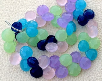 8mm Heart, Full 6 Inches Strand, MULTI COLORED Chalcedony Faceted HEART Briolettes,Superb