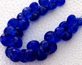 Full 8 Inch Long Strand, KYANITE Blue Quartz Micro Faceted Onions Shape Briolettes,7-8mm size,Superb Item at Low Price