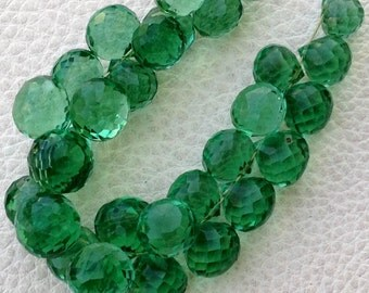 Full 8 Inch Long Strand, NEW GREEN Quartz Micro Faceted Onions Shape Briolettes,7-8mm size,Superb Item at Low Price