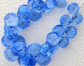 Full 8 Inch Long Strand, TANZANITE Blue Quartz Micro Faceted Onions Shape Briolettes,7-8mm size,Superb Item at Low Price