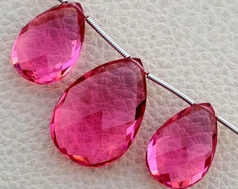 New Arrival, 3 Pieces Set NEW PINK Quartz Faceted Pear Shape Briolettes, 23-18mm size,Superb Item at Low Price