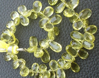 AAAA Quality wholesale Price Offer, 1/2 Strand, 9-15mm, Superb-Finest, Green LEMON QUARTZ Faceted Pear Shape Briolettes