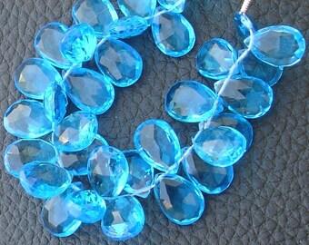 New Arrival, 1/2 Strand, SWISS Blue QUARTZ Quartz Faceted Pear Shape Briolettes, 10-12mm size,Superb Item at Low Price