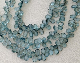 BRAND New, AAA quality, Full 8 Inch Strand, Gorgeous Quality Moss Aquamarine Faceted PEAR Shaped Briolettes, 7-8mm,Great Item
