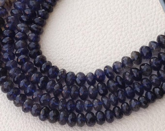 2x8 Inch Strand, WATER SAPPHIRE IOLITE Micro Faceted Rondells, 6-6.5mm Size,Great Quality at Low Price