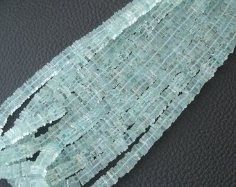 14 Inch Strand,6-6.5mm,SUPERB-Quality,Full Strand, BLUE Aquamarine HEISHI Cut Square Beads,Brand New Stock