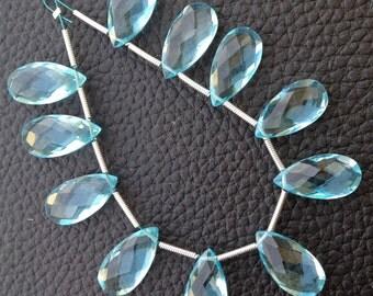 4 Matched pairs, Superb SKY BLUE Quartz Faceted Pear Shape Briolettes, 16x8mm Size,Finest Item