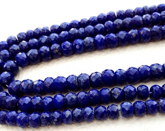 9 Inch Long Strand-Super-AAA Quality, LAPIS LAZULI Micro Faceted Rondells, 5.5-6mm Size ,Great Price Item