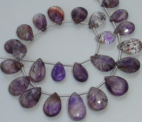 New Arrival,Finest,21 Pcs of High Quality MOSS AMETHYST Faceted Pear Briolettes, 9-12mm Long,Great Price Rare Item