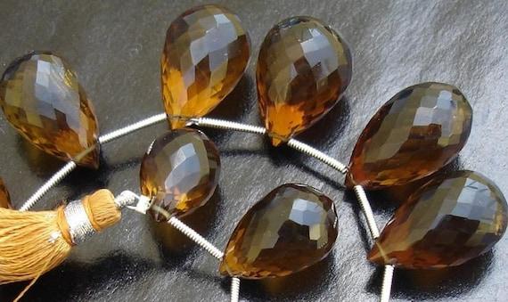 17-20MM Long, Gorgeous BEER QTZ faceted drops shape briolettes,5 Largewr size Pieces