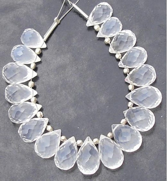 AAA Super Quality ICE Quartz Micro Faceted Drops Shape Briolettes,18 Pieces, Great Price,Rare Item,