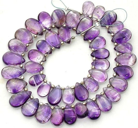 New Arrival ,Truly Rare 18 Pcs of High Quality Moss Amethyst Smooth Pear Briolettes, 10-11mm Long,Great Value Item