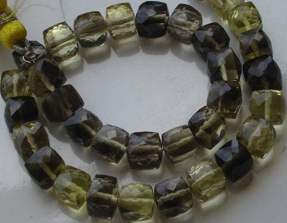 8 Inch Strand,BI LEMON QUARTZ faceted 3d Cubes shaped Beads,6-7mm size,Great Price Rare Item