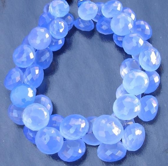 6 Inches Strand, Cobalt Blue Chalcedony Micro Faceted Onions Briolettes,7-9mm Long size,GORGEOUS.