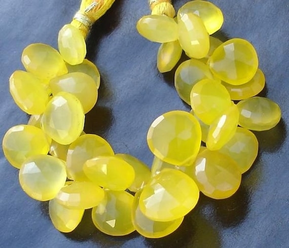 1/2 Strand, Mango Chalcedony Faceted Heart Briolettes,9-10mm Long size,GORGEOUS.