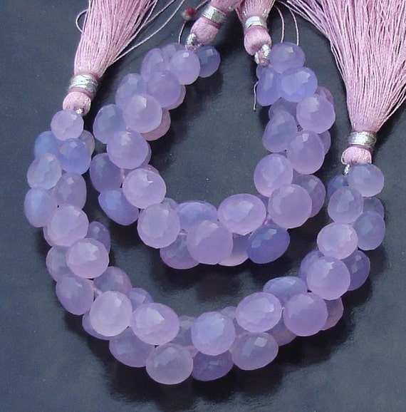 New Stock, 6 Inches Strand, LAVENDAR Blue Chalcedony Micro Faceted Onions Briolettes, 8-10mm Long size,GORGEOUS.