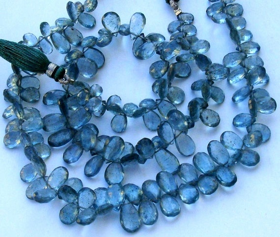 60 Pcs, 8 Inch Long Strand, Gorgeous Quality Moss Aquamarine Faceted PEAR Shaped Briolettes, 9-12MM,Great Item,wholesale Price Item