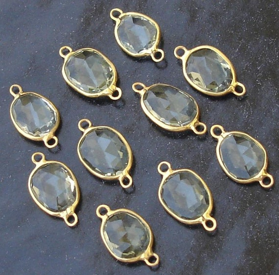 925 Sterling Silver, GREEN AMETHYST, 24K Gold Plated Connector,ONE Piece of 13-16mm
