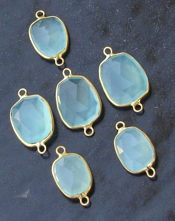 5 Pieces,925 Sterling Silver, Peruvian Blue Chalcedony, 24K Gold Plated Connector, FIVE Pieces of 15-18mm