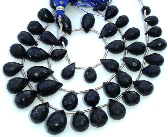 8 Inch Full Strand, AAA Quality Unique Natural BLUE SAPPHIRE Faceted Drops Shape Briolette, 9-14mm,Great Value Item