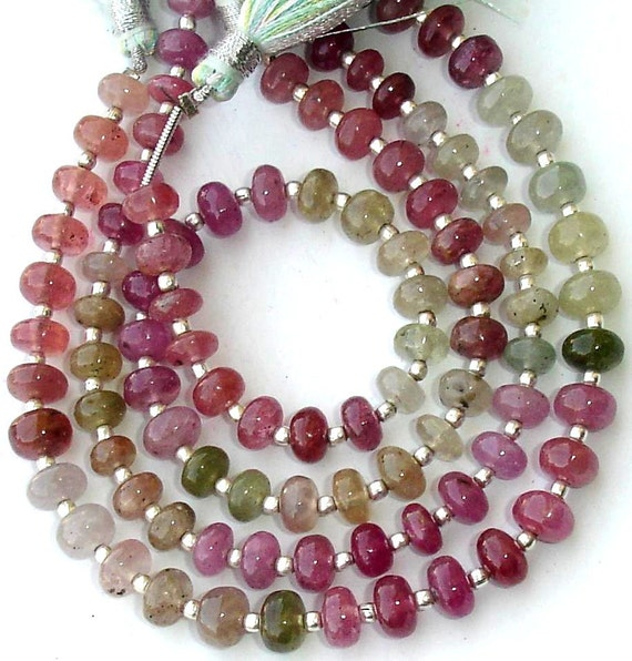 8 Inch Full Strand, Fine Quality Unique NATURAL MULTI SAPPHIRE Smooth Rondells, 6-6.5mm,Great Value Item