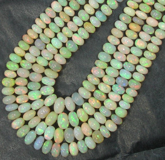 5 Strands,1 DAY OFFER, WELO Ethiopian Opal Smooth Rondells,4-6.5mm, Full 8 Inch Strand, Amazing Inside Fire Finest Quality