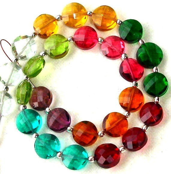 New Arrival,8 Inch Long Strand, MULTI COLOUR QUARTZ Faceted Flat Coin Shape Briolettes,8mm Size,Great Price Amazing Item