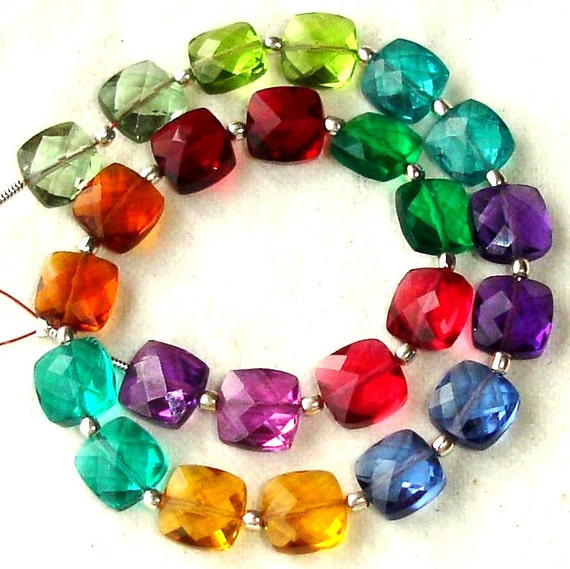 New Arrival,8 Inch Long Strand, MULTI COLOUR QUARTZ Faceted Cushion Shape Briolettes,8mm Size,Great Price Amazing Item