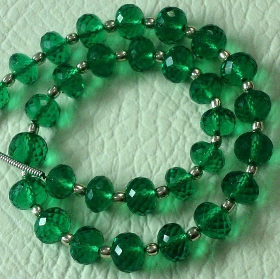 8 Inch Long Strand, EMERALD GREEN QUARTZ Micro Faceted Rondells,6mm Long,Great Price Amazing Item