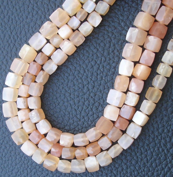 2x8 Inch Strand,Superb-Finest Quality PEACH MOONSTONE Faceted 3D Box Beads Briolettes, 6-8mm size,Great Item