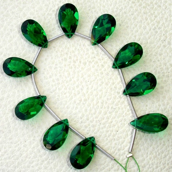 EMERALD Green quartz Cut Pear Briolettes,14x8mm Long,SUPERB-FINEST-aaa Quality,very Low Price