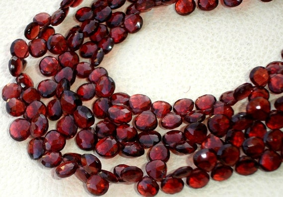 8 Inches, SUPERB Very- Very-Finest AAAAA Quality, PYROPE Red Garnet Faceted Heart Briolettes, 6-7mm aprx.