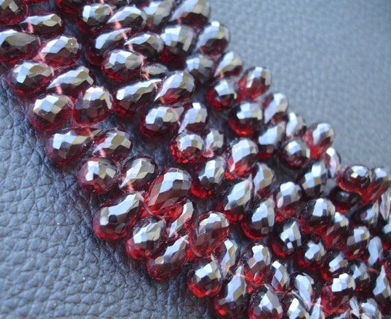9-10mm Long GIANT Size,Very- Very-Finest AAAAA Quality, PYROPE Red Garnet Faceted Drops Briolettes