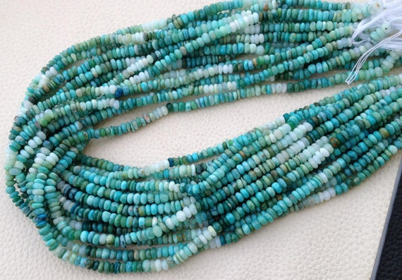 Amazing, 14 Inch, Super Finest Quality, Shaded Peruvian BLUE OPAL Smooth Rondels,4mm Size,Extremely Beauitiful Opal