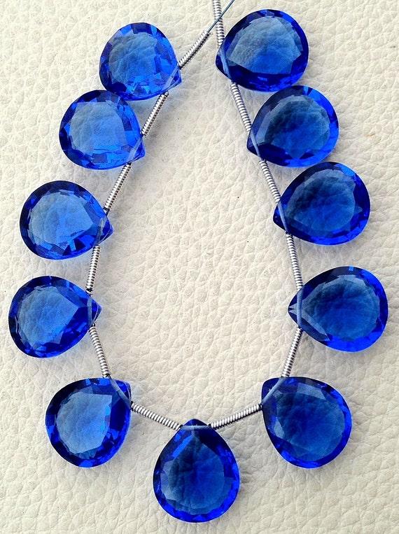 5 Matched pairs, Superb New BLUE Quartz, New Cut Faceted Heart Shape Briolettes,12x14mm Long,Superb